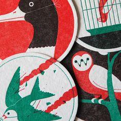 Ornithology Letterpress Coasters by Ryan Todd