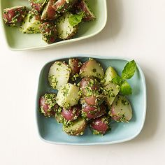 Warm baby potatoes are tossed with a fresh herb pesto for an Italian-spin on this popular American side dish. #recipe #WWLoves
