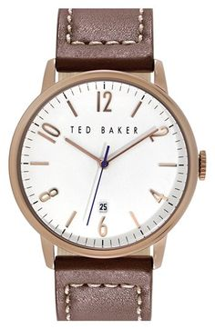 Ted Baker London Round Leather Strap Watch, 42mm available at #Nordstrom