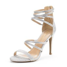 DREAM PAIRS SHOW Womens New Strappy Gladiator High Heel Sandals Back Zipper Open Toe Pump Wedding Sandals SILVER GLITTER SIZE 85 -- Click image for more details.-It is an affiliate link to Amazon.