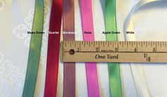 Vintage Ribbons.10 Yards of Double Faced Satin Ribbons, Made in Taiwan. by AnafrezNotions on Etsy