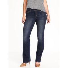 Old Navy Curvy Boot Cut Jeans ($27) ❤ liked on Polyvore featuring jeans, blue, petite, slim fit jeans, petite bootcut jeans, boot-cut jeans, tall jeans and old navy