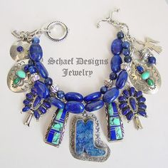 Schaef Designs lapis, turquoise, sterling silver 3 strand Southwestern Native American Charm Bracelet   turquoise jewelry   Schaef Designs artisan hand-crafted jewelry   New Mexico