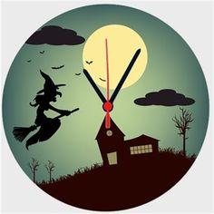 Cadılı Esrarlı Gece Anlatımlı - Duvar Saati 27 cm Kendin Tasarla - Duvar Saati 27cm
