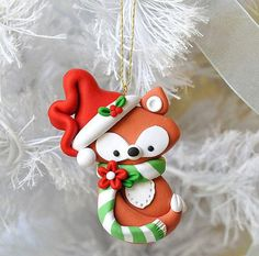 Handcrafted Polymer Clay Fox Ornament by MyJoyfulMoments on Etsy Fox Ornaments, Polymer Clay Ornaments, Polymer Clay Projects, Polymer Clay Charms, Polymer Clay Creations, Diy Clay, How To Make Ornaments, Clay Crafts, Christmas Ornaments