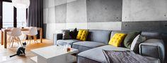 Salon z betonową ścianą - zdjęcie od Black Oak Studio