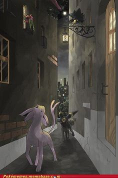 Out At Night - Espeon, Umbreon, and Murkrow the Spy. Umbreon And Espeon, Pokemon Eeveelutions, Eevee Evolutions, Pokemon Show, Pokemon Memes, Pokemon Fan Art, Cute Pokemon, Pokemon Pins, Anime Girls