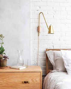 """221 Likes, 8 Comments - the habitat collective (@thehabitatcollective) on Instagram: """"Super simple brass and wood and white painted brick lookin' like a million bucks in Philly…"""""""
