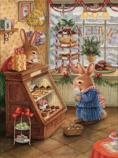Illustration by Susan Wheeler Susan Wheeler, Vintage Christmas Cards, Christmas Art, Christmas Scones, Christmas Goodies, Christmas Bunny, Christmas Feeling, Christmas Sweets, Lapin Art