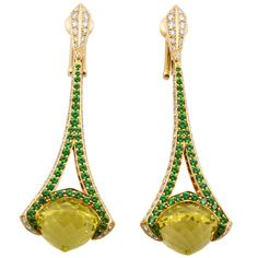 Rodney Rayner Tsavorite Lime Quartz Diamond Gold Rocket Earrings.