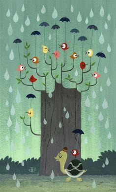Pinzellades al món: pluja Umbrellas for-the birds and the turtle