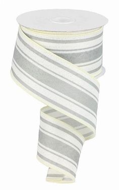 """Excited to share this item from my #etsy shop: Ivory Cool Grey Farmhouse Stripe wired ribbon, Farmhouse grey and Ivory ribbon, 2.5"""" farmhouse ribbon, Ivory and gray ribbon, RG01913FJ #gray #hatmakinghaircrafts #canvas #white #waysidewhimsy #wreathsbyrobin Make Your Own Wreath, How To Make Bows, New Project Ideas, Ann Wood, Cheap Ribbon, Wood Burning Tool, Halloween Ribbon, Grey Ribbon, Bold Stripes"""