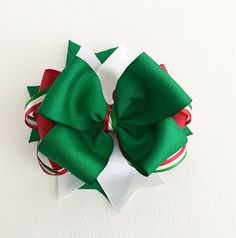 Mexico World Cup Hair Bows / World Cup 2014 Accessories / Mexico Hair Bows / Red, White, Green Hair Bows / Hair Bows for Girls / Soccer Bow on Etsy, $6.49