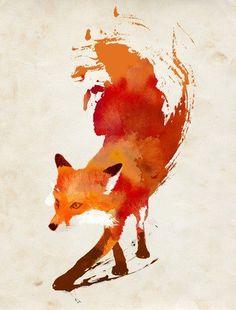 Oriental brush painting looking fox