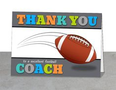 Football Thank You card, Coach Gift, Football Team Card