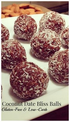 """These Coconut Date Bliss Balls are an awesome snack that fuels """"good bacteria"""" to reduce inflammation in a delicious way! Cacao Recipes, Raw Food Recipes, Low Carb Recipes, Cooking Recipes, Healthy Recipes, Snack Recipes, Vegan Snacks, Healthy Treats, Healthy Food"""