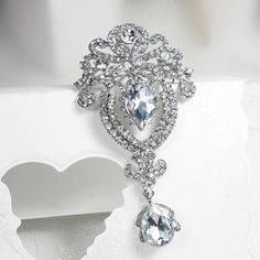 Silver Tone Vintage Clear Crystal Rhinestone Brooch Pin Drop Dangle Brooch Wedding Bouquet Brooch Pin Bridal Accessories Sashes Decorations by RhinestoneBridalTime on Etsy https://www.etsy.com/listing/229020170/silver-tone-vintage-clear-crystal