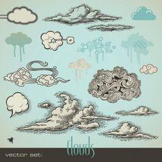 caneta de desenho estilo vector nuvens