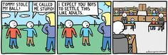 "dark humor twisted endings comics mike organisciak.   So sad about what ""solving a problem like adults"" mean."