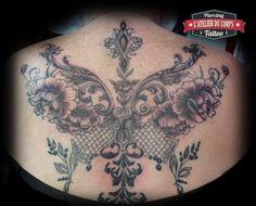 Dos Dessin et Tattoo victorien par Gaëlle, L'Atelier du Corps.  #Tattoovictorien #Floral