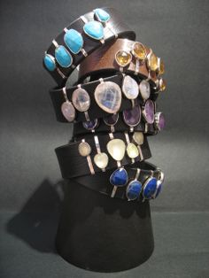 leather bracelets with silver and natural stones
