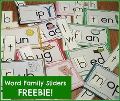 Free printable for creating your own set of word family sliders.  Color-coded too!
