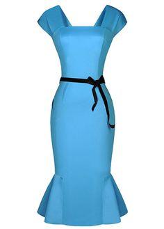 Graceful Square Neck Zipper Closure Sheath Dress Blue | Rosewe.com