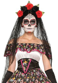 Day of the Dead Flower Headband with Veil - Halloween Accessories  at Escapade™ UK
