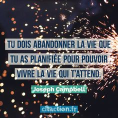 Tu dois abandonner la vie que tu as planifiée pour pouvoir vivre la vie qui t'attend. Joseph Campbell