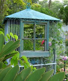 Recycle old mirrors for garden use...