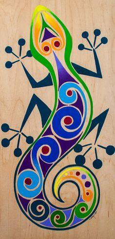 A fanciful gecko Kunst Der Aborigines, Arte Popular, Mexican Art, Aboriginal Art, Art Plastique, Fabric Painting, Rock Art, Painted Rocks, Art Lessons