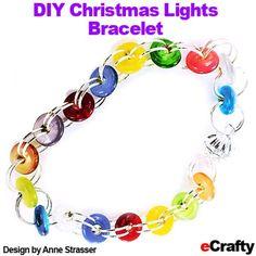 DIY Easy Christmas Lights Bracelet Recipe from eCrafty.com | DIY Jewelry & Crafts from eCrafty.com #ecrafty #diyjewelry #diybracelets #diychristmasgifts