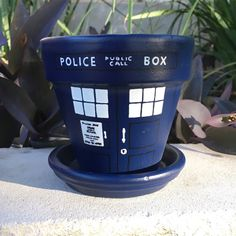 Doctor Who TARDIS hand painted flower pot