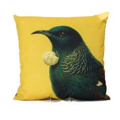 Bird Cushion Yellow Tui | Iko Iko, the most exciting shop for gifts, homewares, accessories and more.