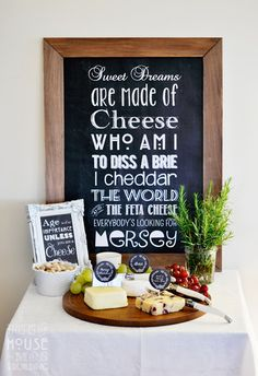 Vintage Chalkboard 40th Birthday Party Cheese Table