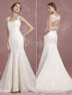 Lace Wedding Dress Mermaid Backless Bridal Gown Straps Sleeveless Court Train Scalloped Cut Out Bridal Dress