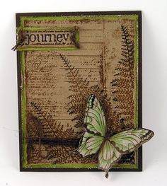greens and browns. butterfly card