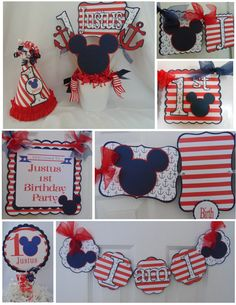 Mickey Mouse Nautical Themed 1st Birthday Party Package