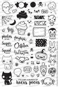 BEYOND in love with this Halloween set! Halloween Icon Set (In Stock) Beyond the love of this Halloween set! Halloween Icon Set (in stock) Halloween Icons, Halloween Doodle, Kawaii Halloween, Halloween Halloween, Cute Halloween Drawings, Halloween Stickers, Halloween Illustration, Doodle Drawings, Doodle Art