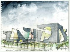 Form study watercolor. Steven Holl, Tianjin EcoCity Ecology and Planning Museums.