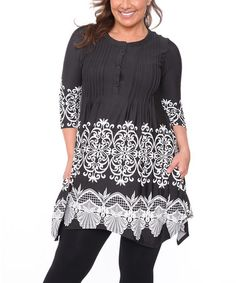 Look at this #zulilyfind! Black & White Damask Handkerchief Tunic - Plus #zulilyfinds