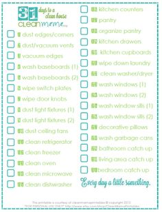 Tackle a cleaning task a day to get your house in ship-shape in a month. Really! Free printable to keep you motivated, too. 31 Days to a Clean House via Clean Mama