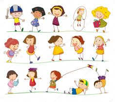 Illustration of collection of simple kids