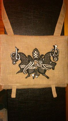 Embriordered linen bag . Medieval pattern.