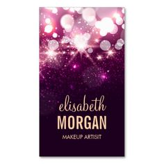 Makeup - Pink Glitter Sparkles Business Card Template. This is a fully customizable business card and available on several paper types for your needs. You can upload your own image or use the image as is. Just click this template to get started!