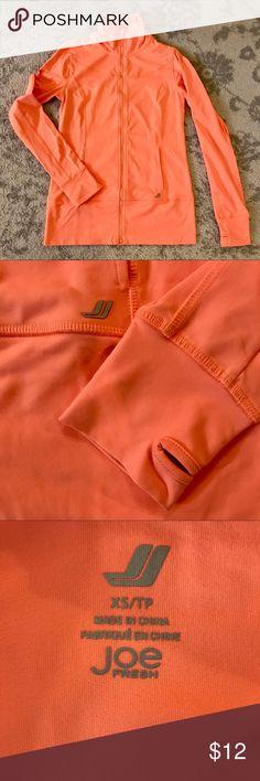 Joe Fresh Neon Orange Athletic Jacket Zip front & mock neck with thumb holes in sleeves. Medium weight elastic fabric. Joe Fresh Jackets & Coats