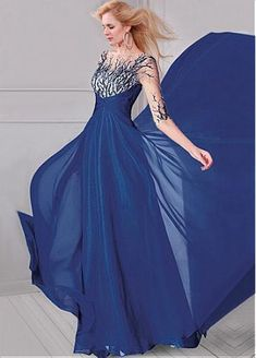 Dazzling Tulle & Silk-like Chiffon Bateau Neckline A-Line Evening Dresses With Embroidery & Beads