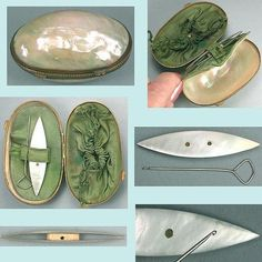 Antique Tatting Shuttle Set in Mother of Pearl Case * English * Circa 1870