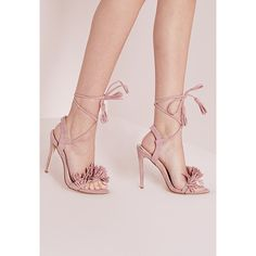 cb7a78afca Missguided Tassel Detail Barely There Heeled Sandals ( 51) ❤ liked on  Polyvore featuring shoes
