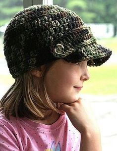 childs newsboy hat pattern, use a flower instead of strap for girl
